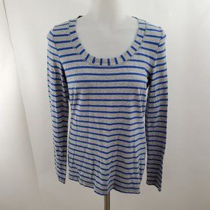 Boden Top 8 Blue Stripe long Sleeve Gray Scoop Bas